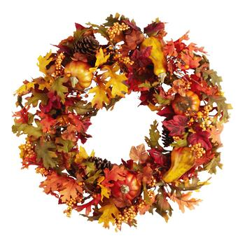 Artificial Pumpkin Harvest Wreath