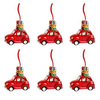 Ceramic Car Ornaments with LED Gifts, Set of 6