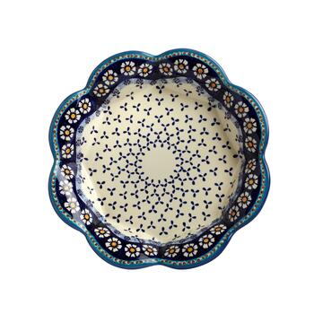 48-Oz. Polish Pottery Blue/White Flowers and Dots Fluted Fruit Bowl view 2