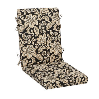 Black/Beige Floral Scroll Indoor/Outdoor Hinged Chair Pad view 1