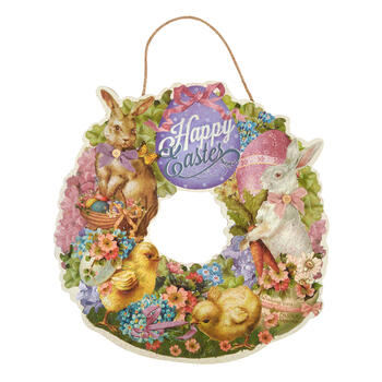 "20"" ""Happy Easter"" Glitter Wood Wreath view 1"