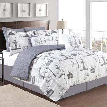 "Molly ""Paris"" Gray Comforter Set, 7-Piece"