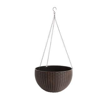 "10"" Basketweave Resin Rattan Planter"