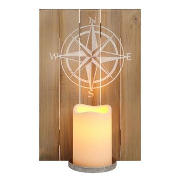 Compass Wood Sconce with LED Flameless Pillar Candle