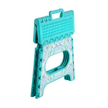 Teal Floral Folding Step Stool view 2