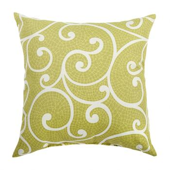 Green Scroll Indoor/Outdoor Square Throw Pillow