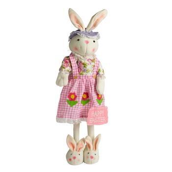 "29"" Standing Bunny Decor with Pink Checkered Dress"