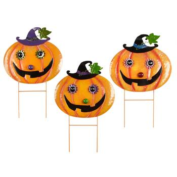 "20"" Jack-O-Lantern Head Metal Yard Stakes, Set of 3"