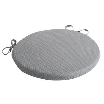 Solid Gray Indoor/Outdoor Round Bistro Seat Pad