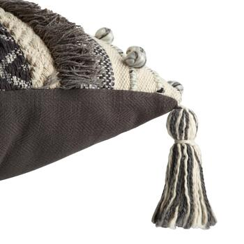 The Grainhouse™ Gray/Ivory Fringe Knot Throw Pillow view 2 view 3