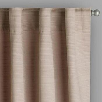 Taupe Linear Texture Rod Pocket Window Curtains, Set of 2