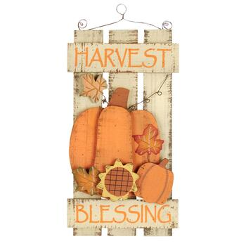 "16.75"" ""Harvest Blessing"" Wood Fence Wall Hanger"
