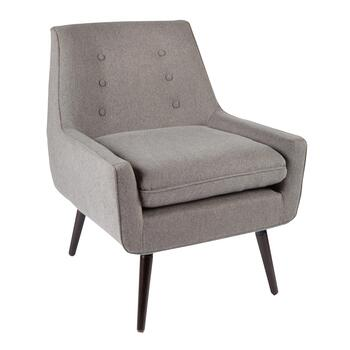 Gray Mid-Century Upholstered Accent Chair