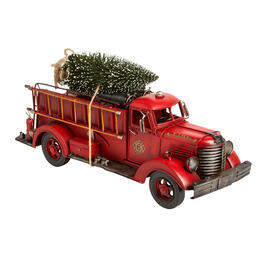 "18"" Metal Fire Truck with Tree Decor view 1"