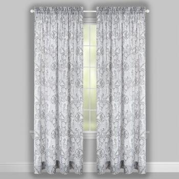 Traditions by Waverly® Paddock Gray Rod Pocket Window Curtains, Set of 2 view 2