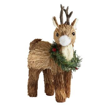 "11"" Standing Reindeer with Wreath"