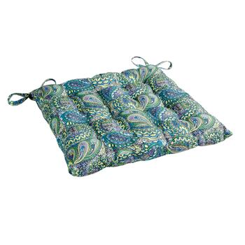 Vera® Blue Paisley Indoor/Outdoor Tufted Square Seat Pad