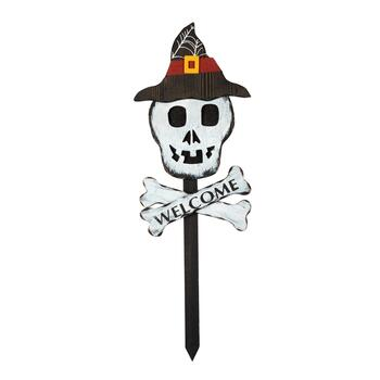 "36"" ""Welcome"" Skull Wood Garden Stake"