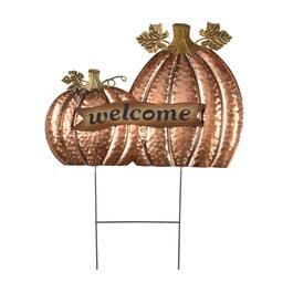 """Welcome"" Pumpkin Duo Double Metal Ground Stake"