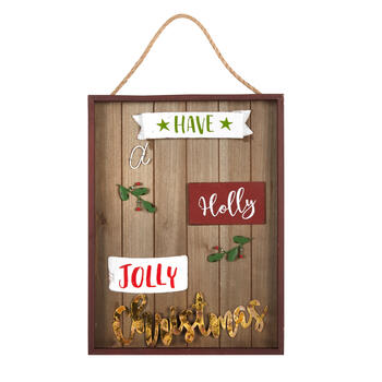 "16"" ""Holly Jolly Christmas"" Wood/Metal Wall Hanging Sign view 1"