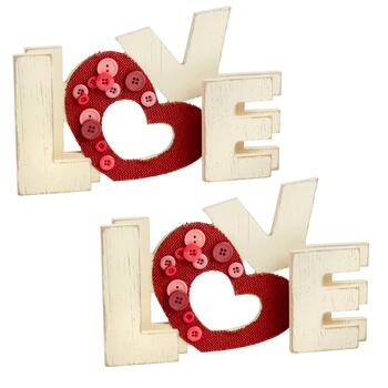 """LOVE"" Fabric Heart Table Sitters, Set of 2"