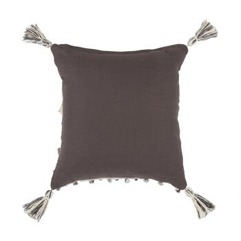 The Grainhouse™ Gray/Ivory Fringe Knot Throw Pillow view 2
