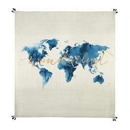 "60"" Blue/Gold ""Wanderlust"" World Map Tassel Tapestry Throw"