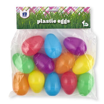 55MM Bright Plastic Easter Eggs, 12-Count view 1
