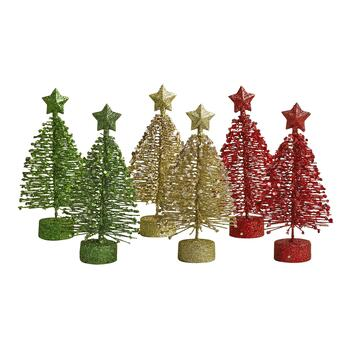Traditional Mini Glitter Trees, Set of 6