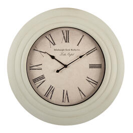 "26"" Distressed White Round Roman Numeral Wall Clock view 1"