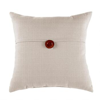Solid Color Square Throw Pillow with Button
