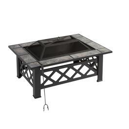 Rectangular Tile Top Fire Pit And Set