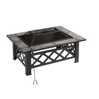 Rectangular Tile Top Fire Pit and Poker Set