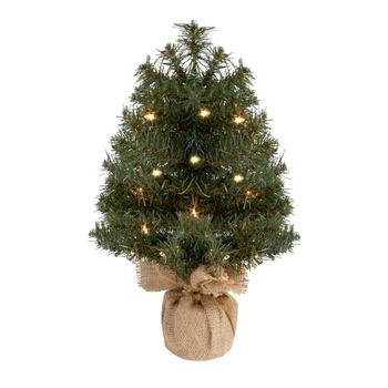"18"" Burlap Bottom Artificial Tabletop Tree with Lights"