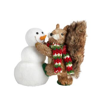 "9"" Squirrel with Snowman Decor"