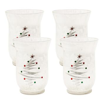 Clear Frosted Glass Christmas Tree Hurricanes, Set of 2