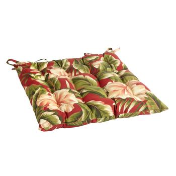 Red Palm Indoor/Outdoor Tufted Square Seat Pad
