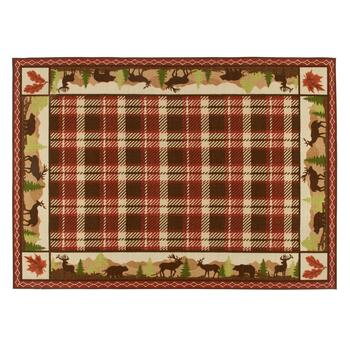 5'x7' Red Plaid Hand-Hooked Area Rug