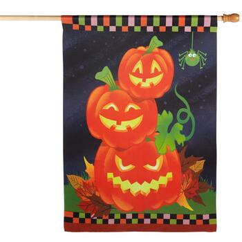 "28""x40"" Sueded Halloween Pumpkins Yard Flag"
