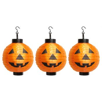 "8"" Solar Paper Jack-O-Lanterns, Set of 3"