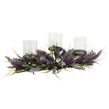 Lavender 3-Cup Candle Holder Centerpiece view 1