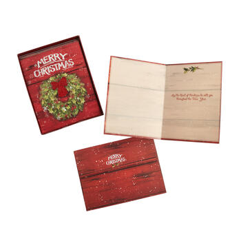"12-Count ""Merry Christmas"" Embossed Wreath Greeting Cards, Set of 2 view 1"