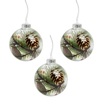 100mm Painted Pinecone Shatterproof Ball Ornaments, Set of 3