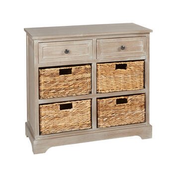 Hannah Antiqued 4-Basket/2-Drawer Storage Cabinet view 1
