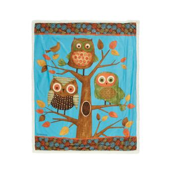 "50""x60"" 3 Owl Tree Micromink Sherpa Throw Blanket"