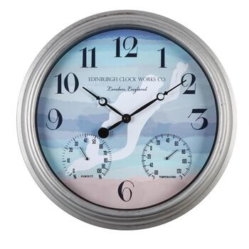 "16"" Mermaid Indoor/Outdoor Clock Thermometer"