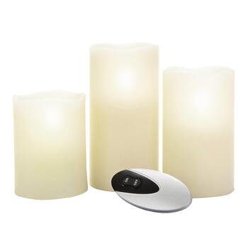 Flameless Pillar Candles with Remote, Set of 3