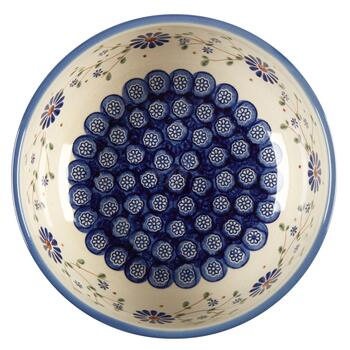 Polish Pottery Floral Peacock Mixing Bowl view 2