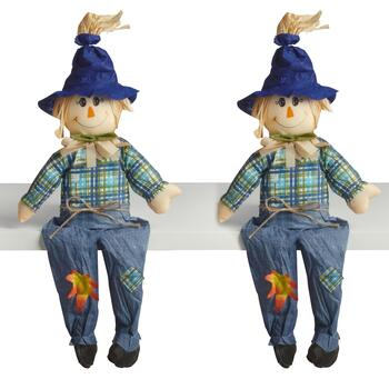 "23"" Blue Hat Sitting Boy Scarecrows Decor, Set of 2"