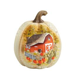 "9"" Red Barn Etched and Painted Pumpkin Decor"